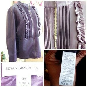 Susan Graver Jackets & Coats - Purple Faux Leather Plus Size Jacket 3XL